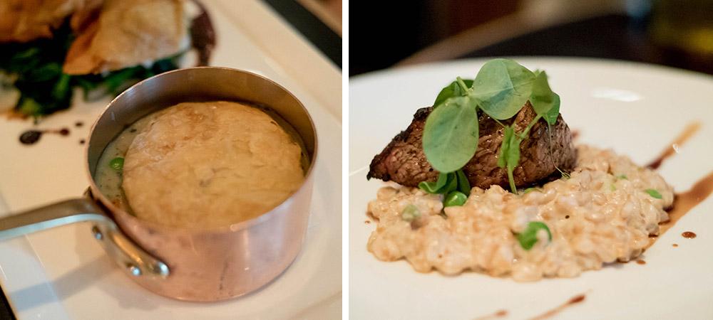 Bourbon Steak Chicken Pot Pie and Rib Eye Steak